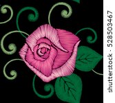 roses embroidery  satin stitch  ... | Shutterstock .eps vector #528503467