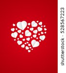 valentine's with paper hearts | Shutterstock .eps vector #528567223