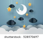 paper art of goodnight and... | Shutterstock .eps vector #528570697