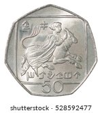 Small photo of 50 Cyprus cents depicting Abduction of Europa