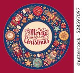 xmas wreath. greeting christmas ... | Shutterstock . vector #528597097