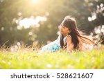 cute little asian girl laying... | Shutterstock . vector #528621607