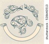 vintage floral design elements | Shutterstock .eps vector #528640513