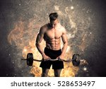 a strong athletic guy looking... | Shutterstock . vector #528653497