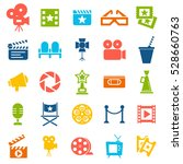 cinema retro movies icons set.... | Shutterstock .eps vector #528660763