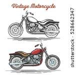 vintage motorcycle set. hand... | Shutterstock .eps vector #528662347