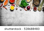 big set of spices and herbs. on ... | Shutterstock . vector #528688483