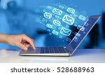 concept of sending e mails from ... | Shutterstock . vector #528688963