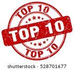 top 10. stamp. red round grunge ... | Shutterstock .eps vector #528701677