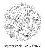 seafood icons set in round... | Shutterstock .eps vector #528717877