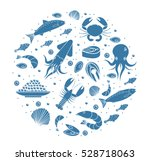 seafood icons set in round... | Shutterstock .eps vector #528718063