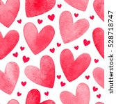 watercolor hearts isolated on...   Shutterstock . vector #528718747