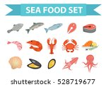 seafood icons set vector  flat... | Shutterstock .eps vector #528719677