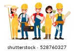 team of workers are building a... | Shutterstock .eps vector #528760327
