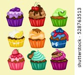 tasty colorful cupcake... | Shutterstock .eps vector #528763513