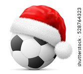 soccer ball in red santa claus... | Shutterstock .eps vector #528764323