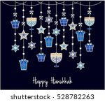 happy hanukkah greeting card or ... | Shutterstock .eps vector #528782263