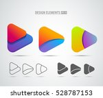 vector abstract 3d play logo... | Shutterstock .eps vector #528787153