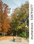 park alley in autumn city park | Shutterstock . vector #528791077