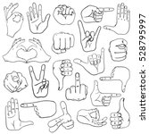 set of sketch human hands icons ... | Shutterstock .eps vector #528795997