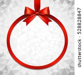 red ribbon bow and hanged... | Shutterstock .eps vector #528828847