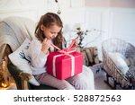 little girl holding a christmas ... | Shutterstock . vector #528872563