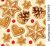 christmas ginger seamless | Shutterstock .eps vector #528874093