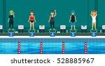 swimmer on the starting line... | Shutterstock .eps vector #528885967