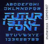 futuristic alphabet vector font.... | Shutterstock .eps vector #528905407