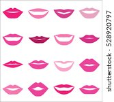 set of pink lips on a white... | Shutterstock .eps vector #528920797