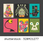 set of six retro postage s... | Shutterstock .eps vector #528921277