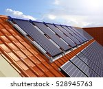 solar power house 3d concept ... | Shutterstock . vector #528945763