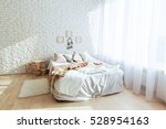 minimalist bedroom with big bed ... | Shutterstock . vector #528954163