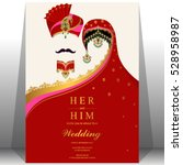 Indian wedding card, gold and crystals color. | Shutterstock vector #528958987