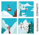 ski resort. ski lift in the... | Shutterstock . vector #528966073
