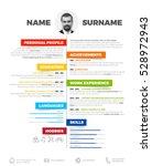 vector minimalist cv   resume... | Shutterstock .eps vector #528972943