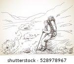 man trekker with backpack... | Shutterstock .eps vector #528978967
