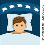 man lying in bed  the man was... | Shutterstock . vector #529006147