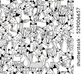 Doodle Foxes Seamless Pattern....