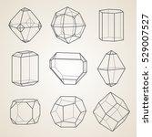 set of geometric crystals.... | Shutterstock .eps vector #529007527