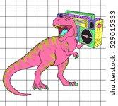 tyrannosaurus rex with boombox... | Shutterstock .eps vector #529015333