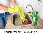 blocked sink plunger | Shutterstock . vector #529034527