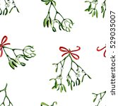 seamless watercolor christmas... | Shutterstock . vector #529035007