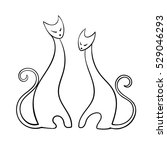 two cats isolated | Shutterstock .eps vector #529046293