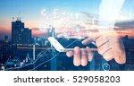 fintech  forex and stock market ... | Shutterstock . vector #529058203