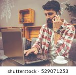 young modern businessman with... | Shutterstock . vector #529071253