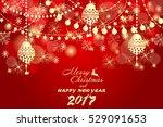 beautiful golden christmas... | Shutterstock .eps vector #529091653