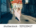 cheerful girl on the street ... | Shutterstock . vector #529120417