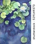 watercolor cosmic water lilies | Shutterstock . vector #529149373