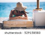 beautiful woman sunbathing in a ... | Shutterstock . vector #529158583